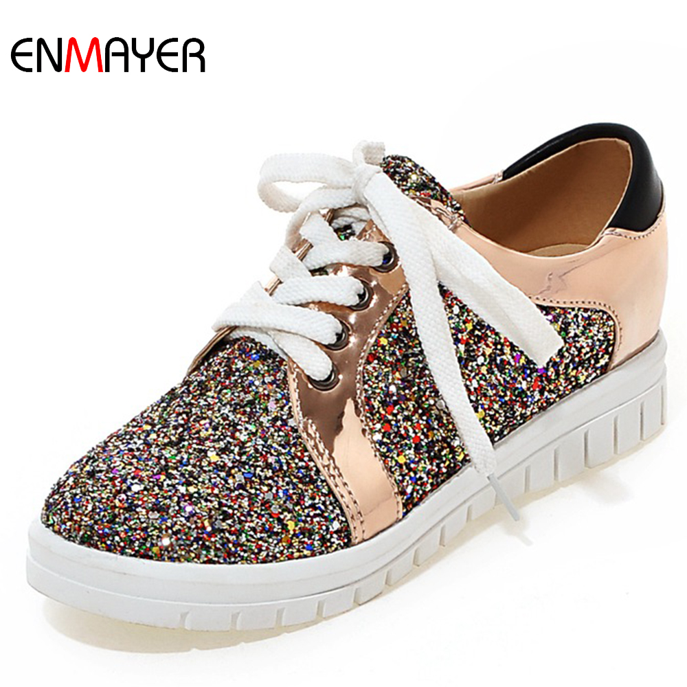 2016 best selling shinning pu upper female students flat heels sneakers <strong>shoes</strong>
