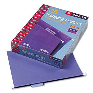 Smead : Hanging File Folders, 1/5 Tab, 11 Point Stock, Letter, Purple, 25 per Box -:- Sold as 2 Packs of - 25 - / - Total of 50 Each