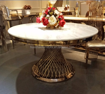 Luxury Modern 2 Meter Marble Stone Top Round Dining Table For Restaurant Dh 826 White