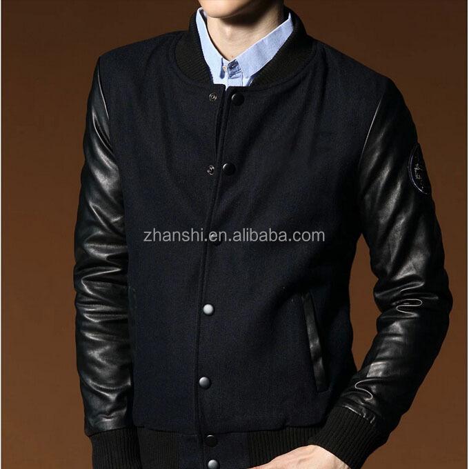 43ad6675c7e Uk Designer Vintage Flight Black Wool Mens Bomber Jackets With Leather  Sleeves - Buy Mens Bomber Jackets