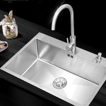 5040 Durable Single Bowl Stainless Steel Kitchen Sink Faucet With Drainer