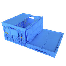 35L blue color reusable vented plastic folding fruit and vegetable crates