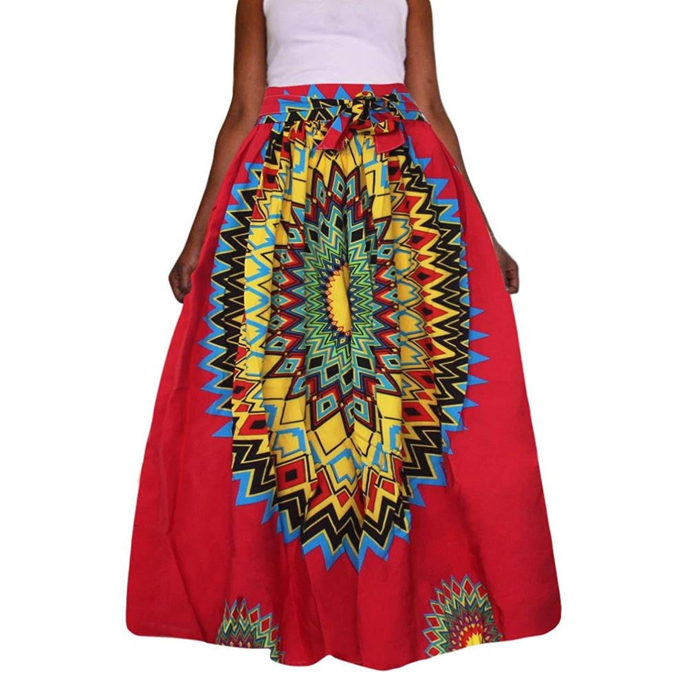 09f0e18e79 Get Quotations · Hometom Women Long Maxi Skirt, African Dashiki Print  Chiffon High Waist Party Boho Ankara Maxi