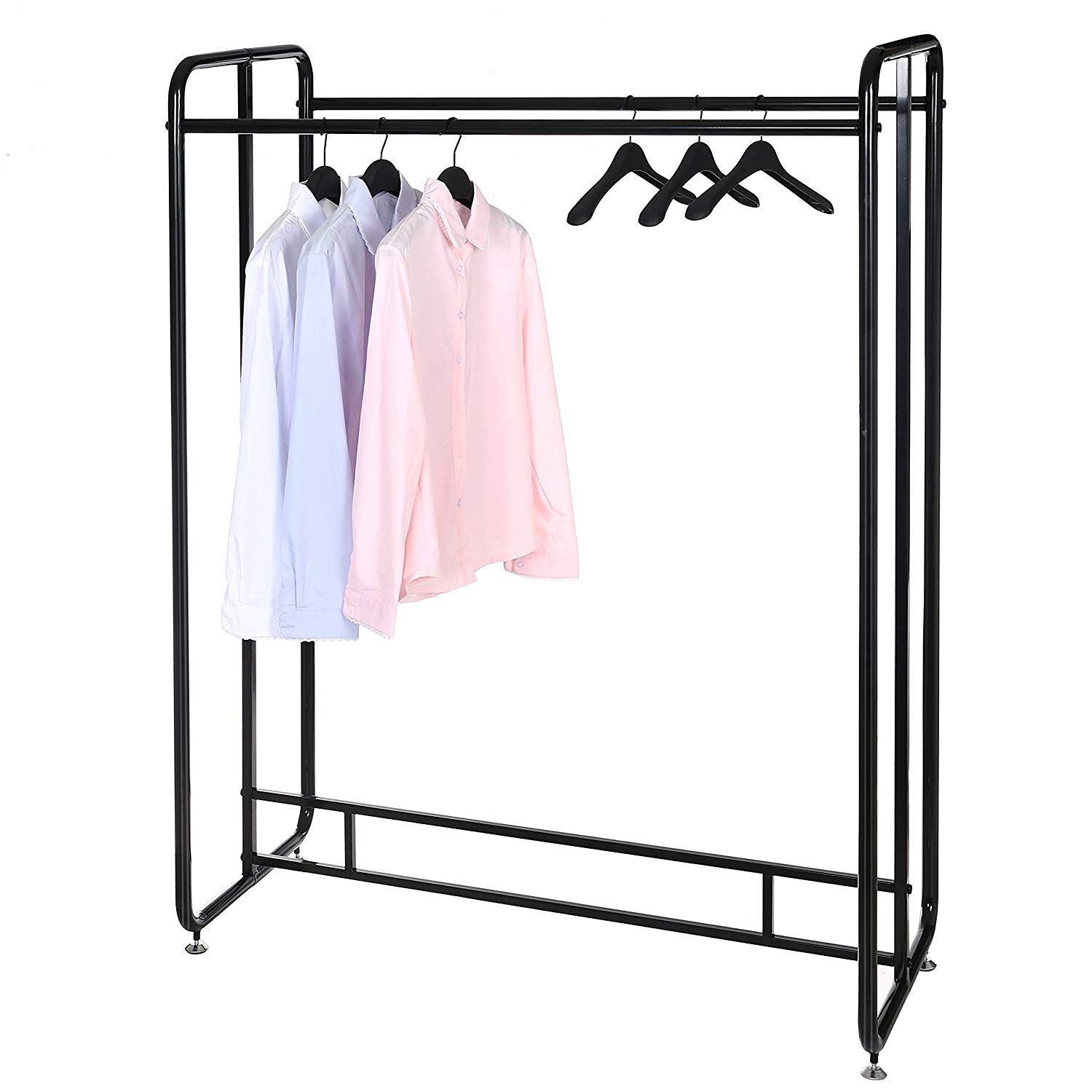 55-Inch Heavy Duty Black Metal Commercial Dual-Sided Garment Rack, Retail Clothing Display