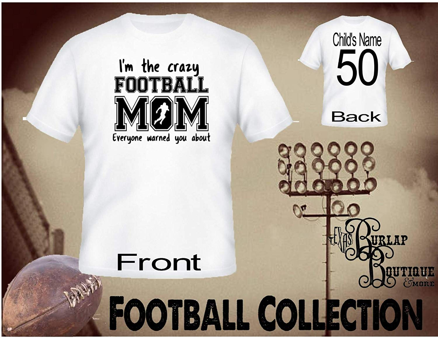 Handmade Personalized Football Shirt, Crazy Football MOM everyone warned you about, Tee, T - Shirt, Tshirt, Football Quotes, Kids, Girls, Adult, Sizes XS - 3XL Several colors