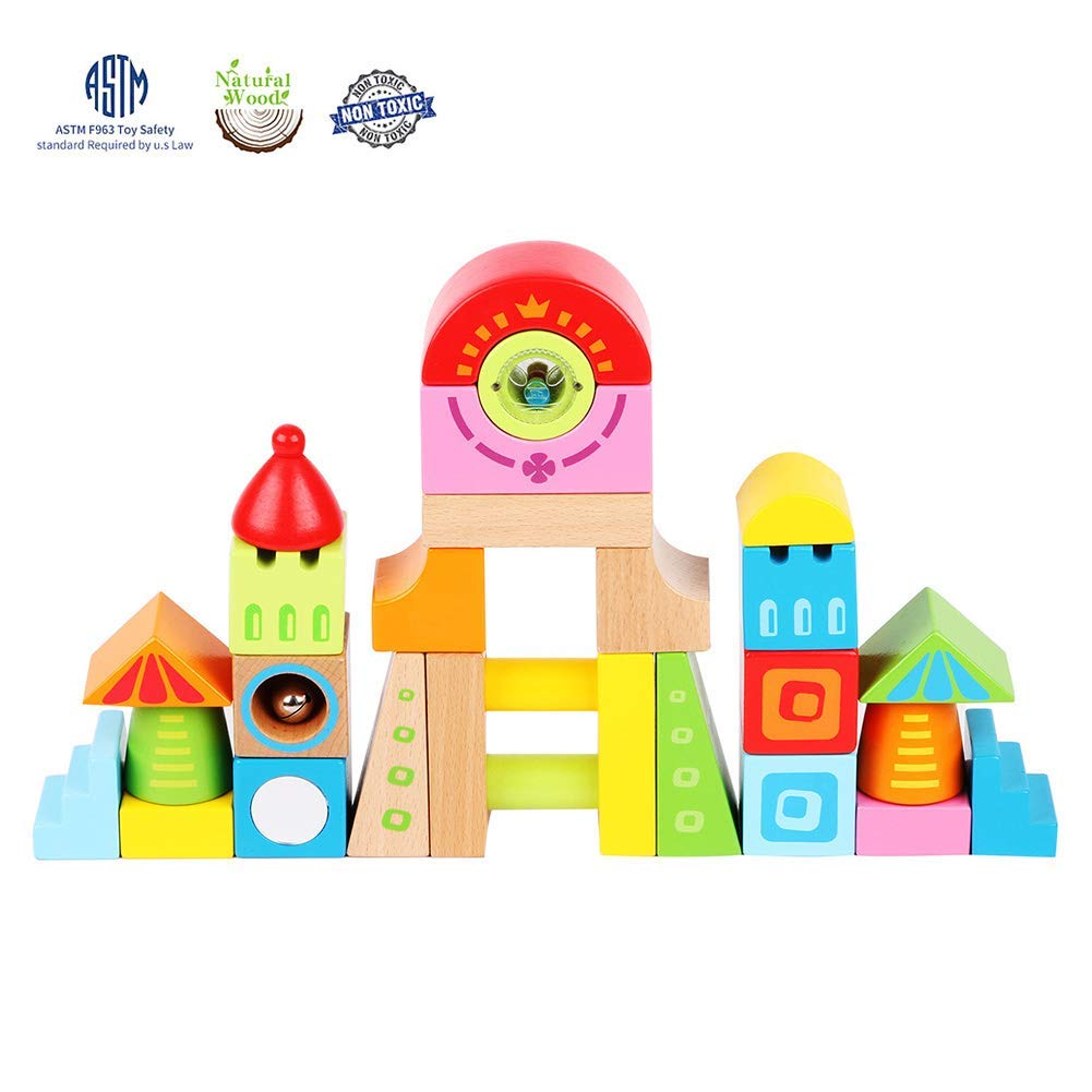 0e8984b70fe8 Get Quotations · LEO   FRIENDS Colorful Solid Wooden Building Blocks Set  for Early Education-28 Blocks in