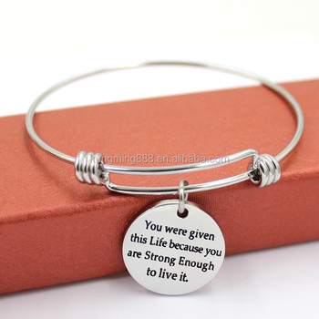 New Fashion Customized Engraved Charms Stainless Steel Expandable Wire Bangle Bracelet