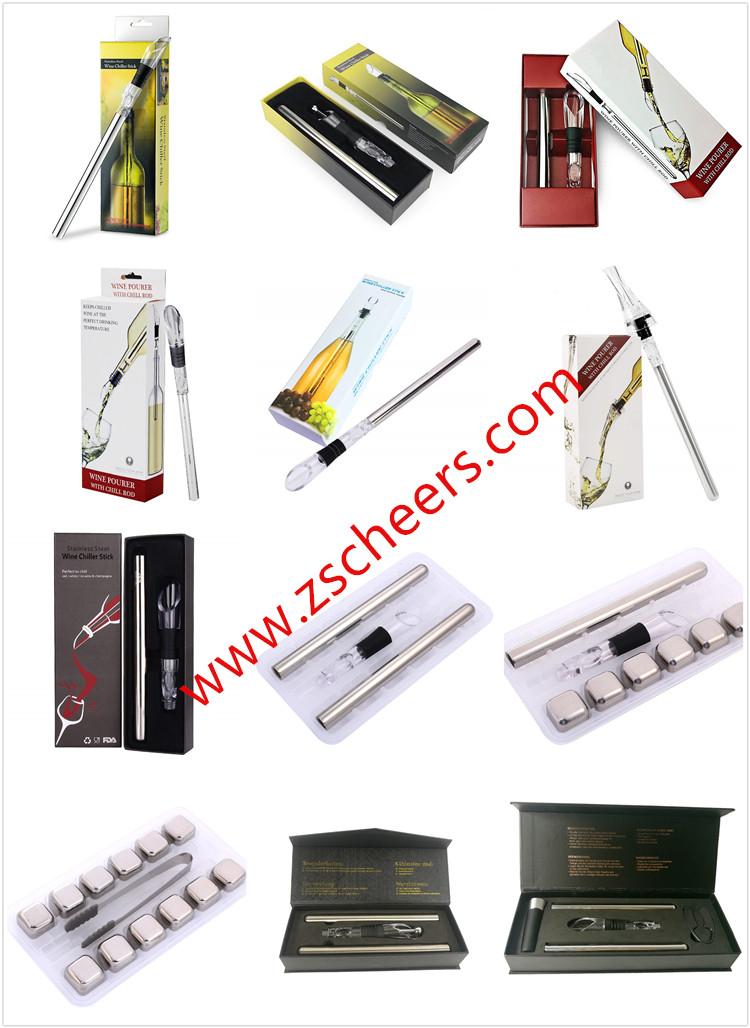 Refrigeratore del vino Bastone, 4-in-FDA & LFGB In Acciaio Inox Bottiglia Di Vino di Raffreddamento Bastone Congelatore con Tappo Di Bottiglia, aeratore e Versatore