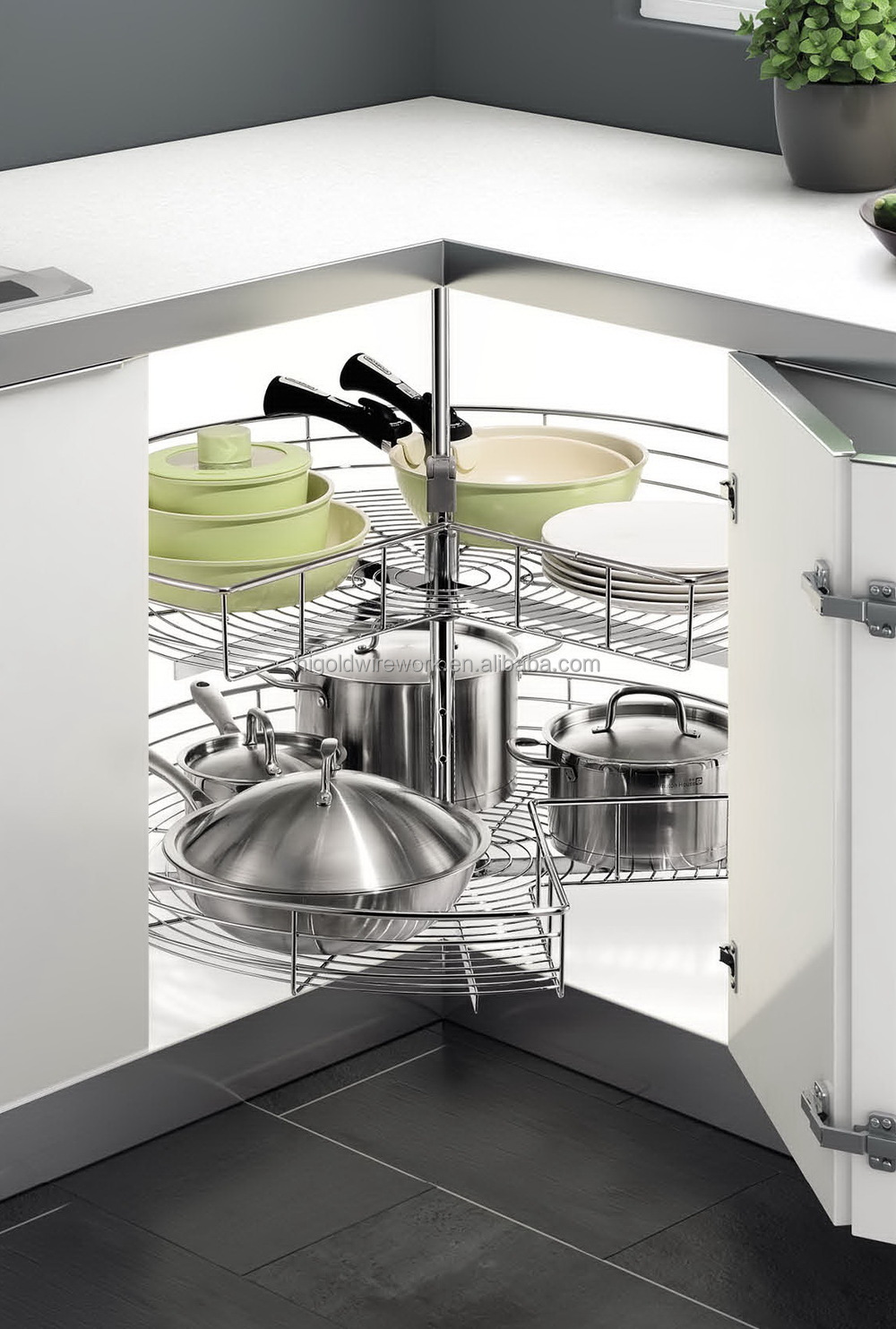 kitchen corner cabinet carousel kitchen cabinet 270 degree corner carousel storage basket 21574