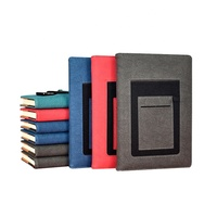 Customise A5 PU Leather Recycled Paper Refillable Planner Diary Notebook With Name Card Holder On Cover