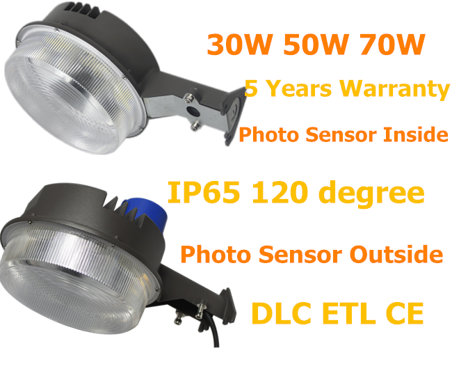 Shenzhen supplier 5 Years Warranty ETL DLC UL outdoor garden lighting dusk to dawn light with photocell sensor inside or outside