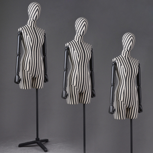 new designed stripe fabric female mannequin torso with wooden arms