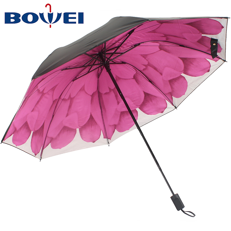 Manufacturer oil painting china travel windproof manual print cheap fold pongee umbrella