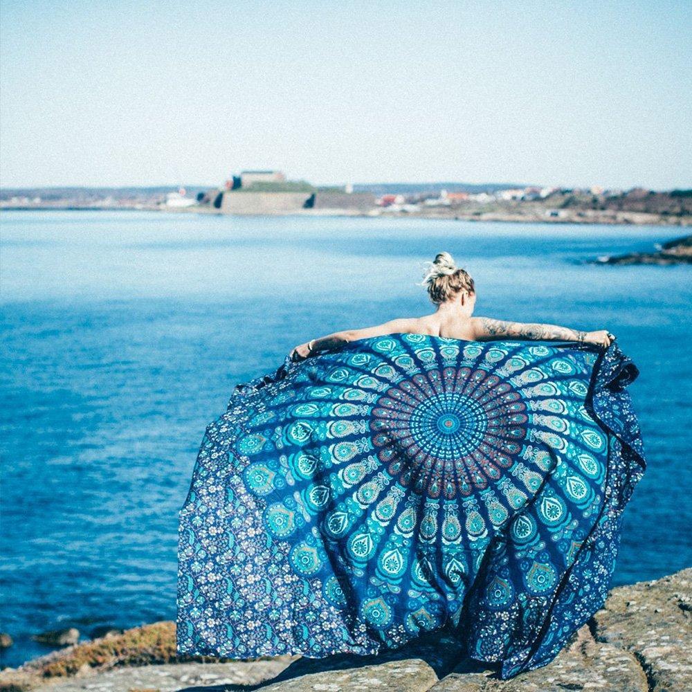 Beach Throw, Tsumbay Indian Mandala Beach Towel Wall Decor Hippie Tapestries Bohemian Mandala Beach Throw Tapestry Wall Hanging Throw, Yoga Mat, Picnic Mat, Table Throw - Lake Blue
