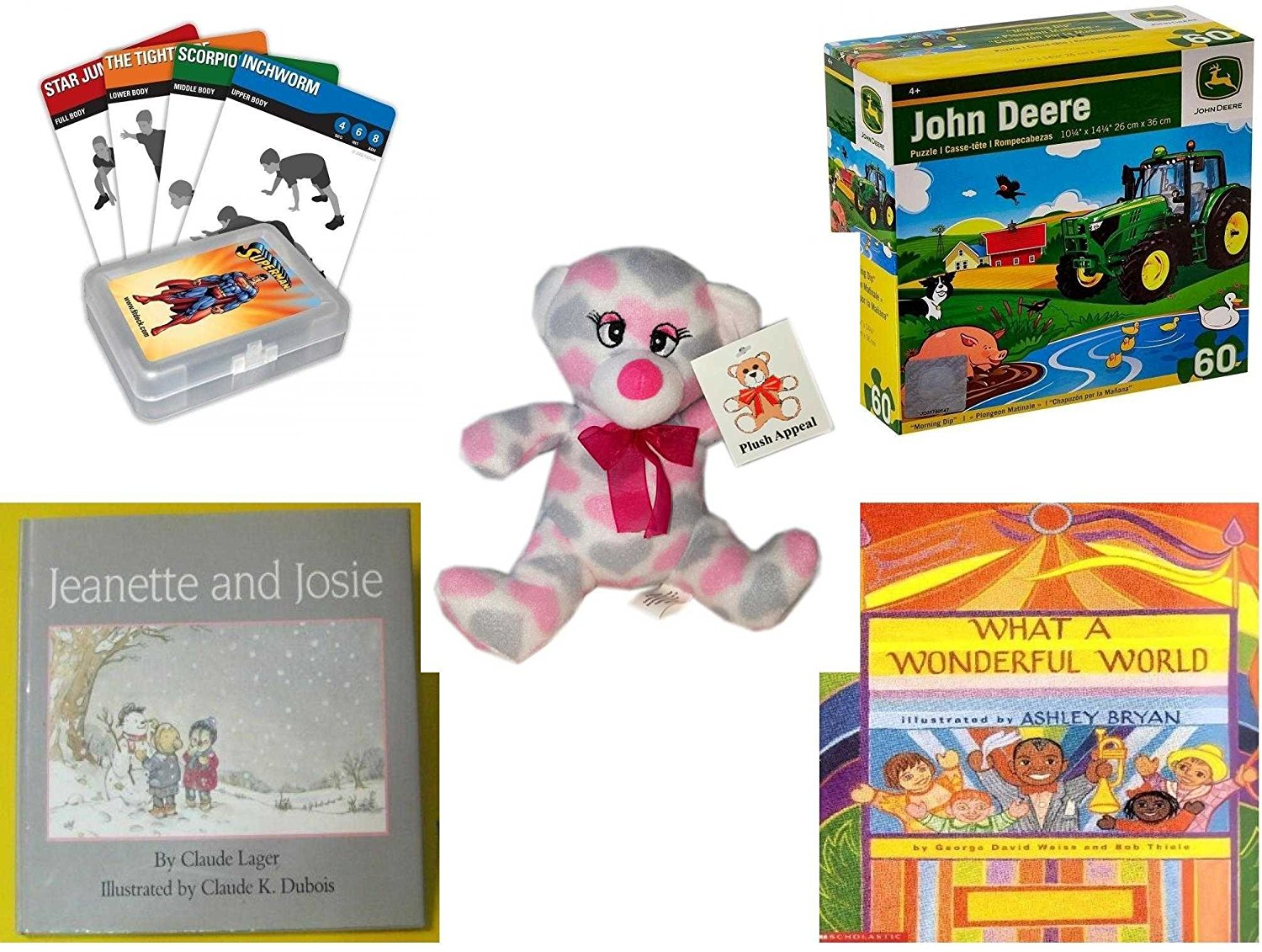 """Children's Gift Bundle - Ages 3-5 [5 Piece] - FitDeck Exercise Playing Cards Game - John Deere Morning Dip 60 Piece Puzzle Toy - Plush Appeal Pretty Pink and Purple Hearts Bear Plush 7"""" - Jeanette a"""