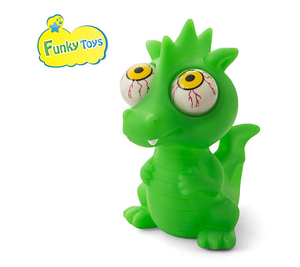 Funky Toys Flippy Dragon Eye Popping Large Green Squishy Squeeze Toy for Stress Reduction