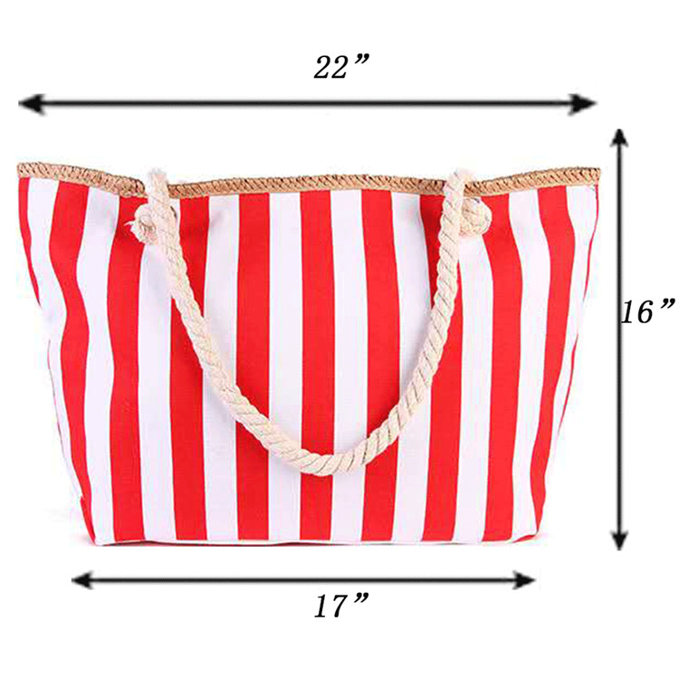 Foldable ecofriendly striped zipper designer beach bag summer custom