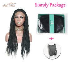 Сури волос микро бокс косички кружева спереди черный синтетический женский парик термостойкий парик для афроамериканцев 30 дюймов(Китай)