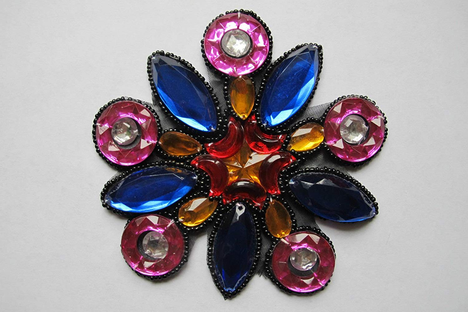 """4 1//2/"""" Colorful Rhinestone Flower Beaded Sequin Applique-BS03"""