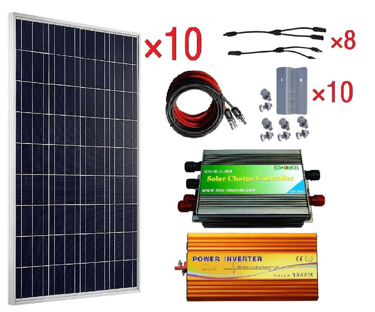 ECO-WORTHY 1KW 24V Polycrystalline Off Grid Solar Kit: 10pcs 100W Poly Solar  Panels