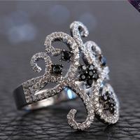 JR0077-925 Sterling Silver Crown Ring for Bride Wedding Ring Unique Design