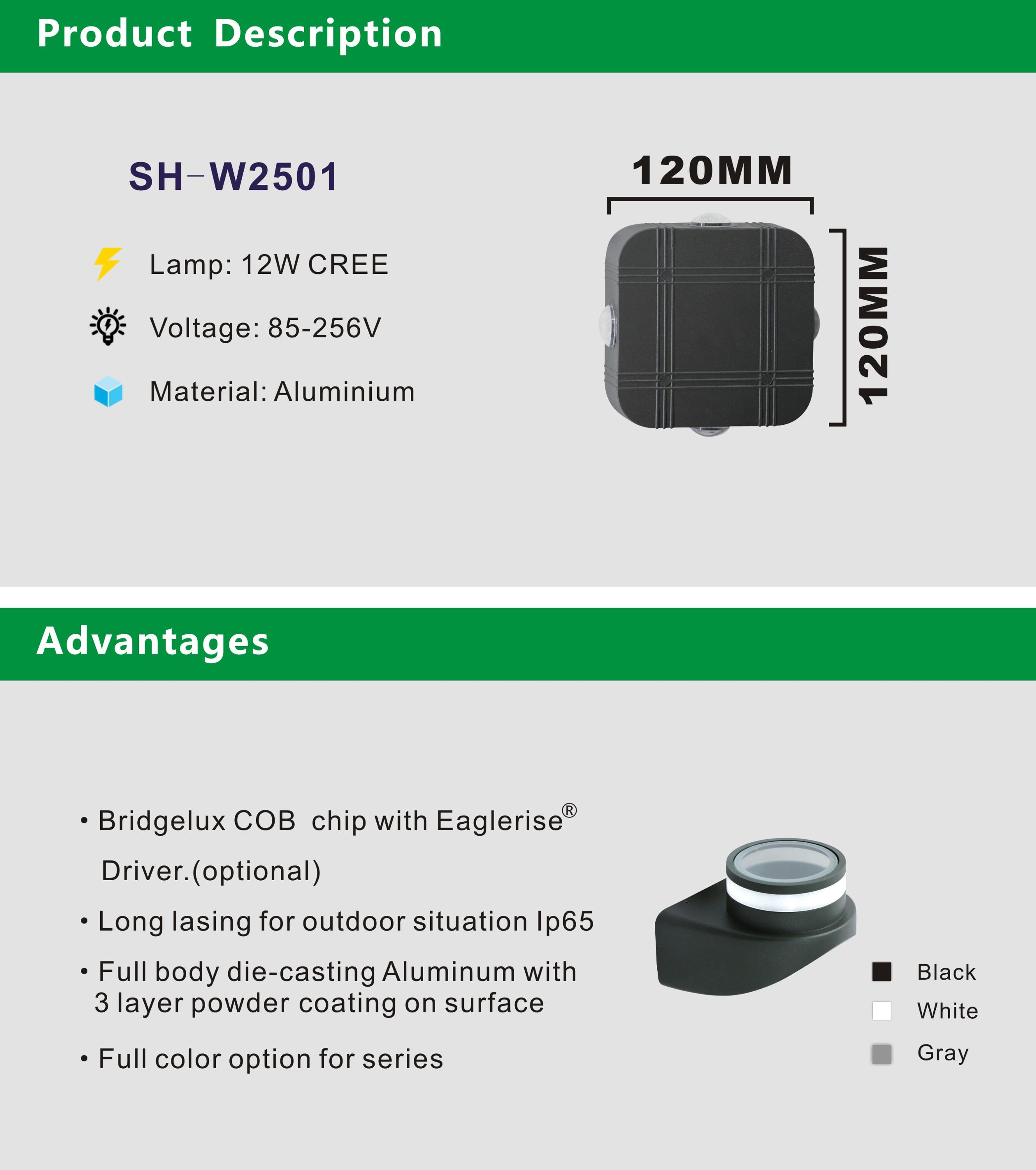 SH-W2501 Aluminum IP65 Waterproof Square 4x3w Grey Shell LED Wall Lamps