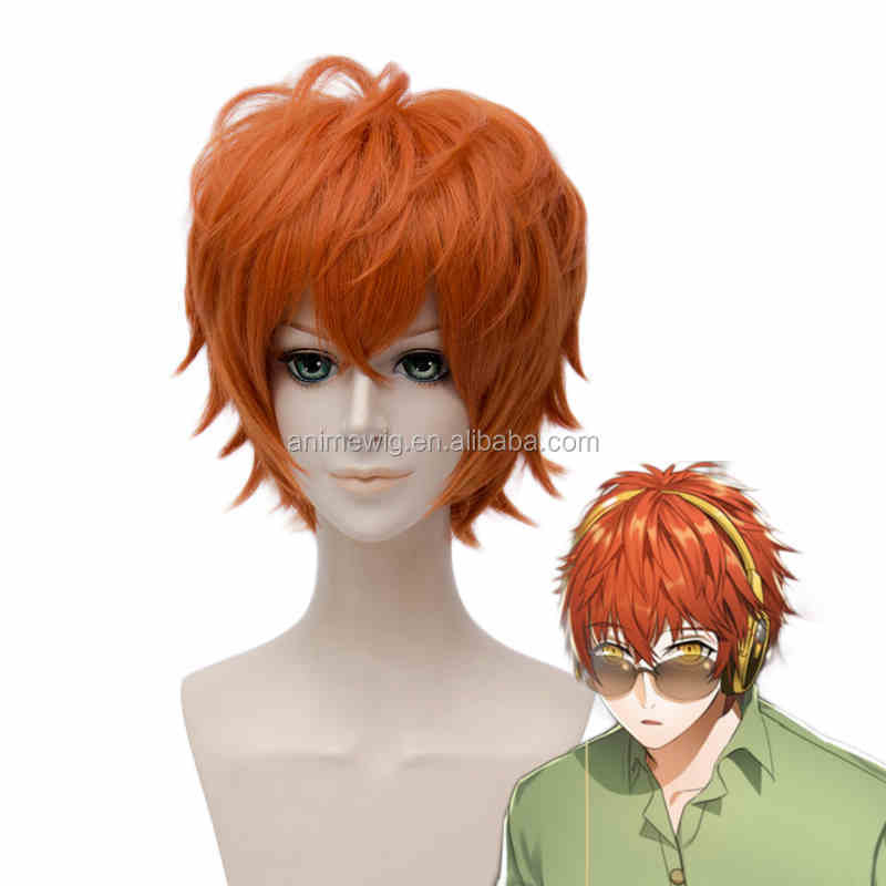 Mystic Messenger Cosplay Wig 30cm Short <strong>Orange</strong> 707 Synthetic Anime Hair Wig