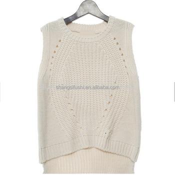 Women Cotton Round Neck Sleeveless Sweater Vest - Buy Sweater Vest ...