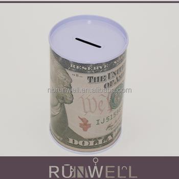 Us dollar design cylinder shape metal piggy bank tin cans for How to open a tin piggy bank