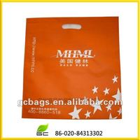 orange shopping non-woven die cut handle bag