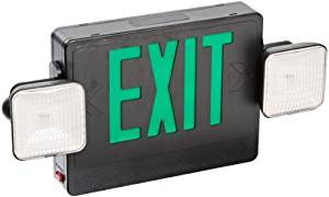 Morris Products 73037 Combo LED Exit Emergency Light, Green LED, Black Housing Remote Capable (2)