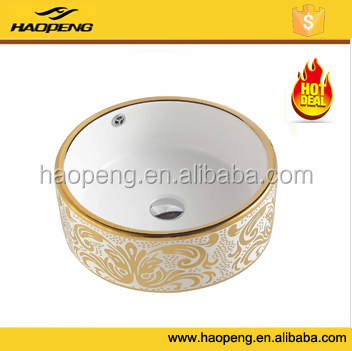 Over counter sanitary wares hotel ceramic bathroom gold basin