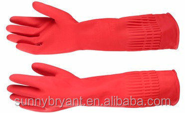 Thick Long Cuff Kitchen Washing Housework Cleaning Protect Hand Tool Latex Gloves