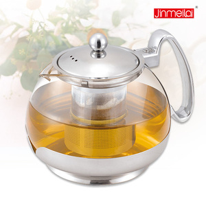 750ml glass teapot,glass teapot with stainless iron,teapot with filter