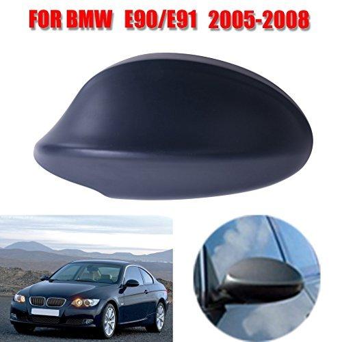 Jade Onlines Black Rear View Side Door Mirror Cover Caps Trim for 2005-2008 BMW 3-Series E90 E91 325i 328i 330i Sedan( Left Side)