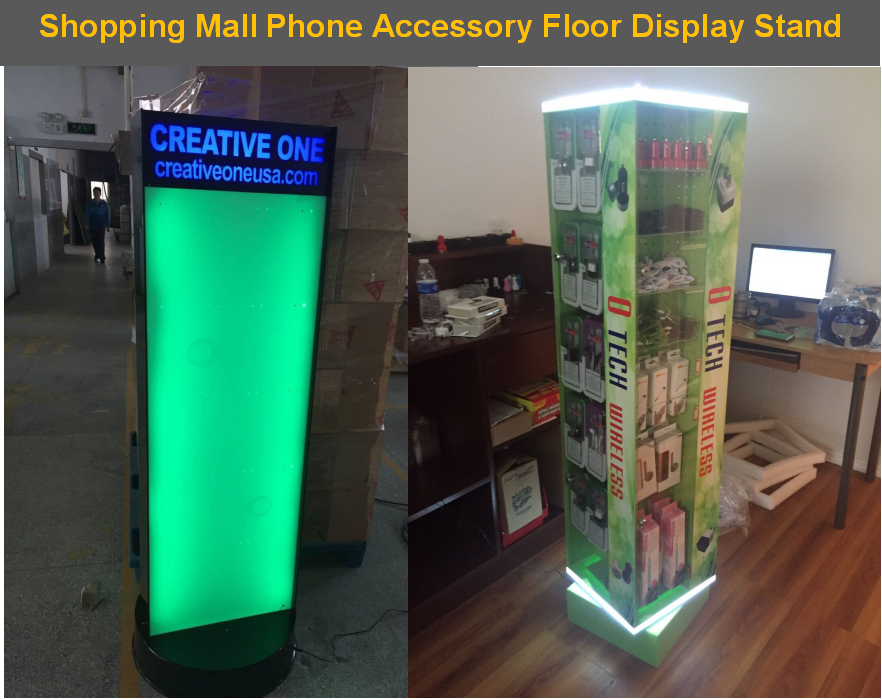 30 Pegs+Turning Wheels+RGB LED Custom Acrylic Floor Standing Display Rack For Cell Phone Accessories Phone Charger Display Stand