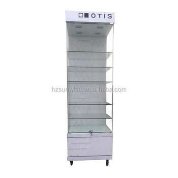 Acrylic mdf led light locking sun glasses display cabinet with wheels