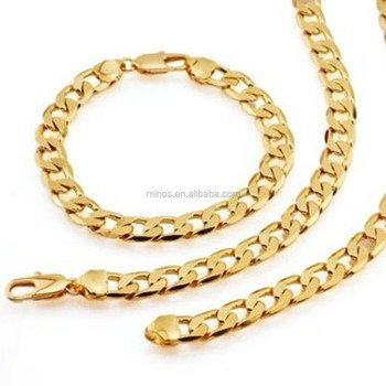 Fashion Heavy 24k Yellow Gold Plated Mens Necklace Bracelet Sets European Curb Link Chain Jewelry