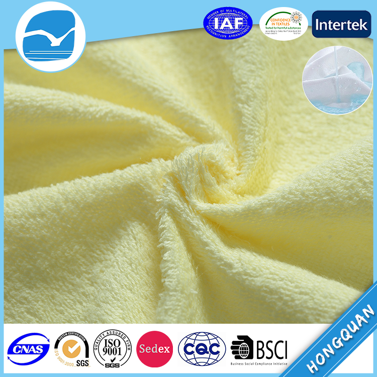 Hongquan Waterproof Terry Towelling Fabric,TPU Laminated Fabric For Baby Care Product,Fabric Waterproof For Mattress Protector