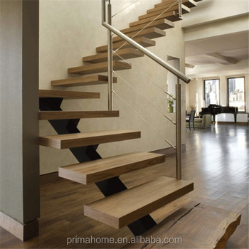 Top Safety Metal Wire Mesh Stairs Railing Wood Treads For Double Beam  Straight Staircase