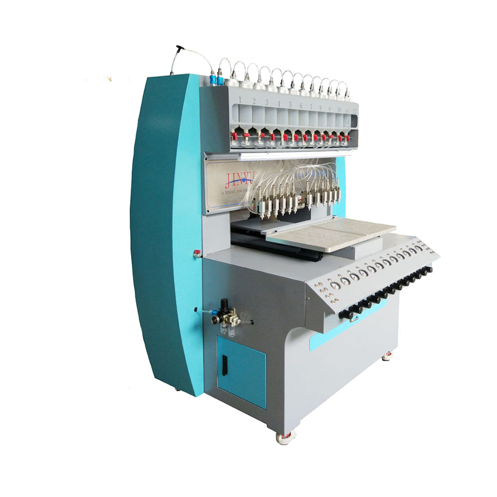 Volautomatische 12 kleuren pvc label dispenser machine, pvc logo machine