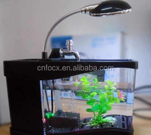 Mini Aquarium Aquarium Met USB LCD Desktop/LED Klok Aquarium Decoratie/USB Desktop Mini Aquarium