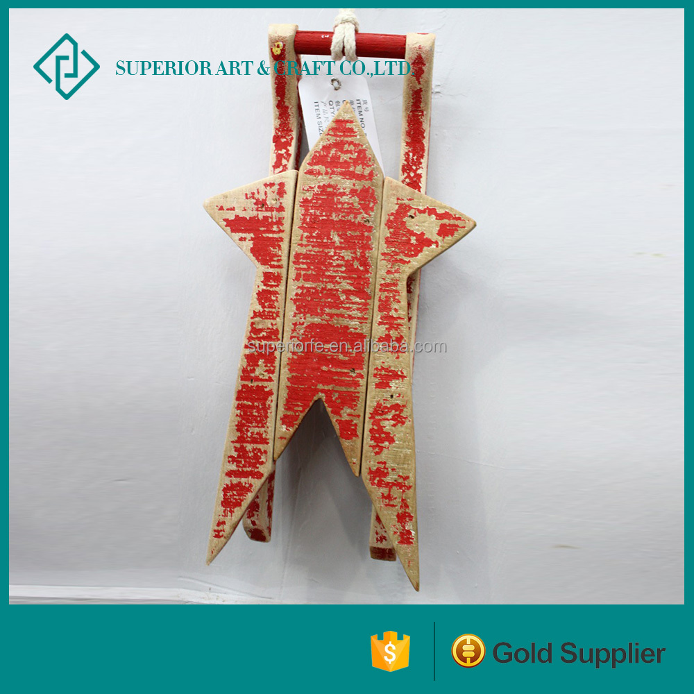 new design woods crafts wooden sleds for decorations wooden snow sled for home Decoration