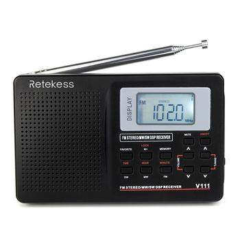 World band broadcasting FM MW SW portable radio receiver Retekess V-111 portable radio for US, Canada, Mexico,Brazil, Argentina