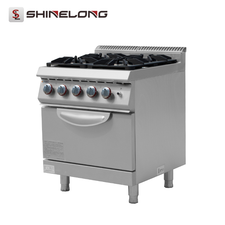Commercial 900 Series Stainless Steel Gas 4 Burner Range with Oven for Restaurant and Hotel