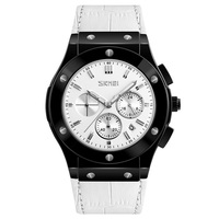 Skmei 9157 Wholesale Men Watch Custom Logo Waterproof Chrono Japan Movement Quartz Leather Watch