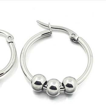 Es510118 Halo Fine Surgical Stainless Steel Men And Women Gold Huggie Earrings