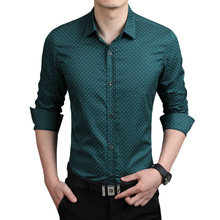 2015 New Autumn Fashion Brand Men Clothes Slim Fit Men Long Sleeve Shirt Men Polka Dot Casual Men Shirt Social Plus Size 5XL