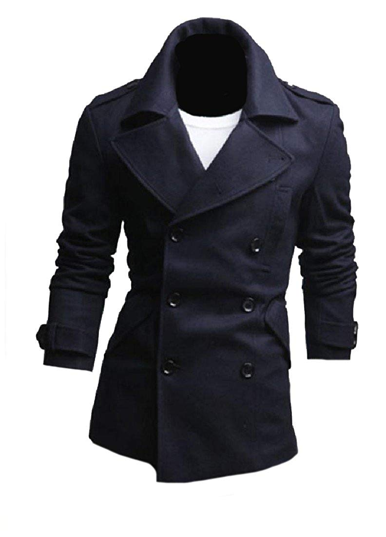 Zimaes Men Classic-Fit Double-Breasted Jacket Notch Lapel Duffle Coat