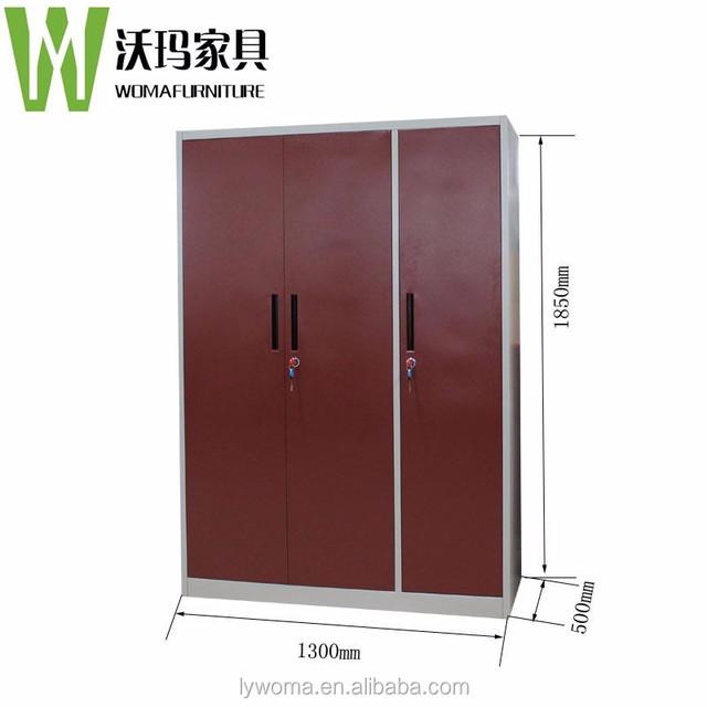 Multifunctional Furniture Red 3 Door Steel Almirah Godrej Design With Price  List / Metal Wardrobe Closet